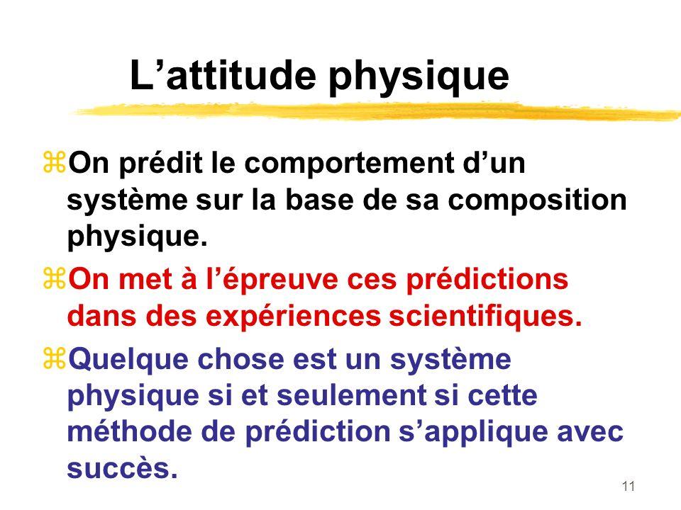 L'attitude physique On prédit le comportement d'un système sur la base de sa composition physique.