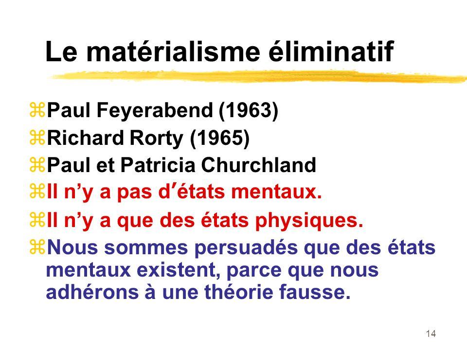Le matérialisme éliminatif