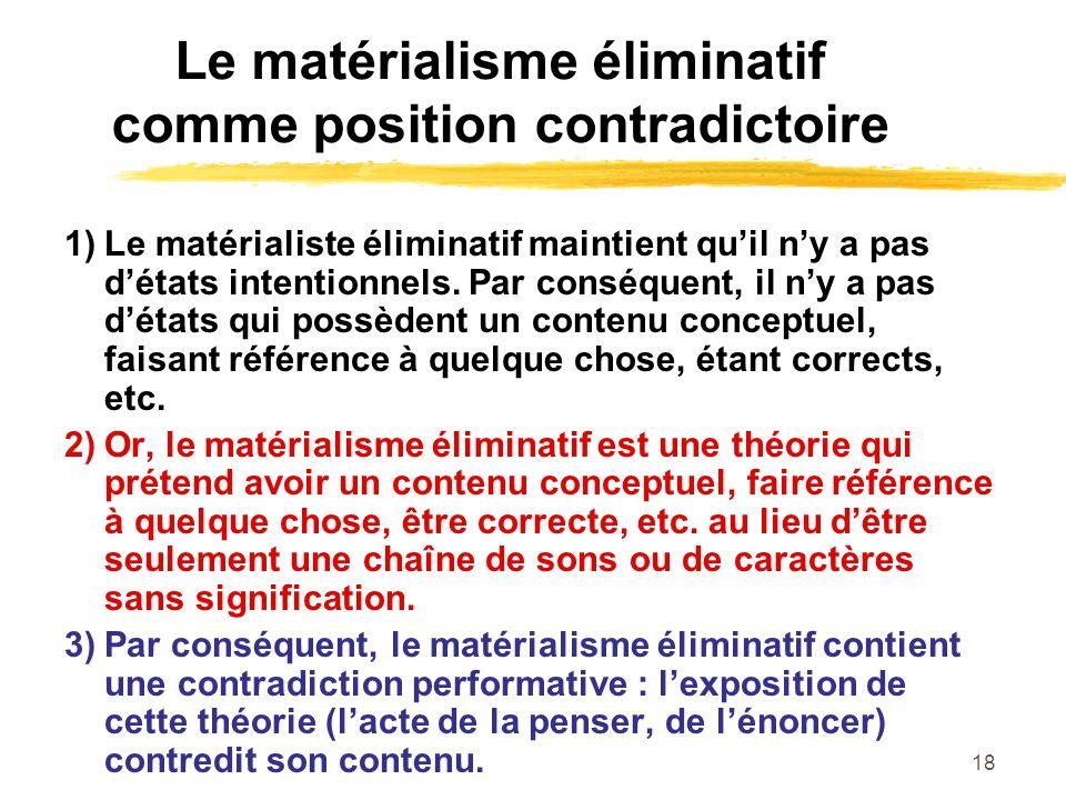 Le matérialisme éliminatif comme position contradictoire