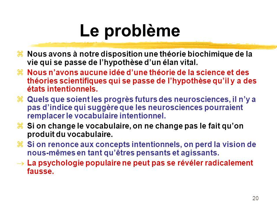 Le problème Nous avons à notre disposition une théorie biochimique de la vie qui se passe de l'hypothèse d'un élan vital.