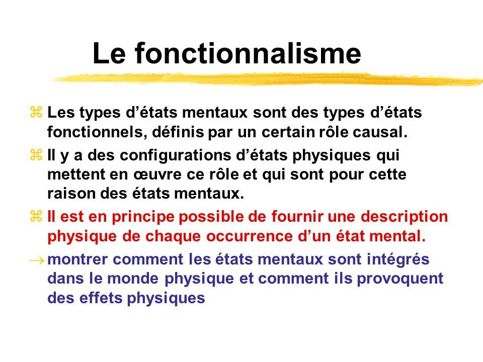 Le fonctionnalisme Les types d'états mentaux sont des types d'états fonctionnels, définis par un certain rôle causal.