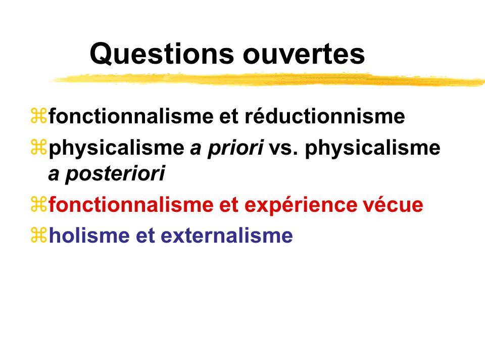 Questions ouvertes fonctionnalisme et réductionnisme