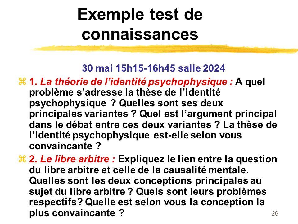 Exemple test de connaissances