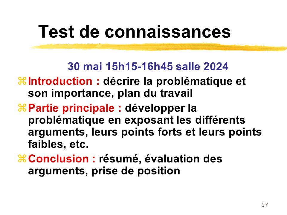 Test de connaissances 30 mai 15h15-16h45 salle 2024