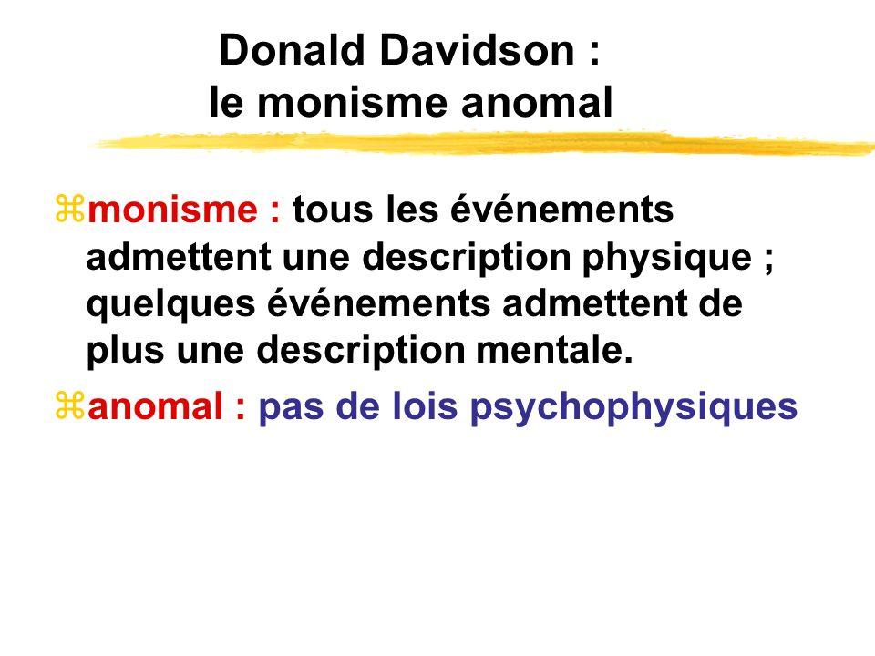 Donald Davidson : le monisme anomal