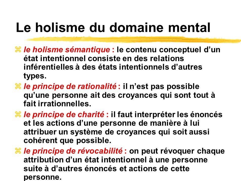 Le holisme du domaine mental