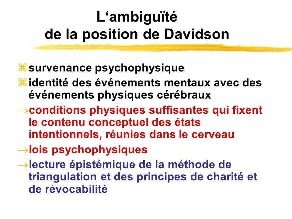 L'ambiguïté de la position de Davidson