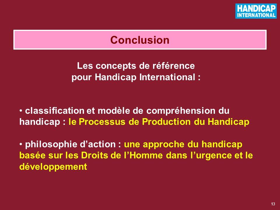 Les concepts de référence pour Handicap International :