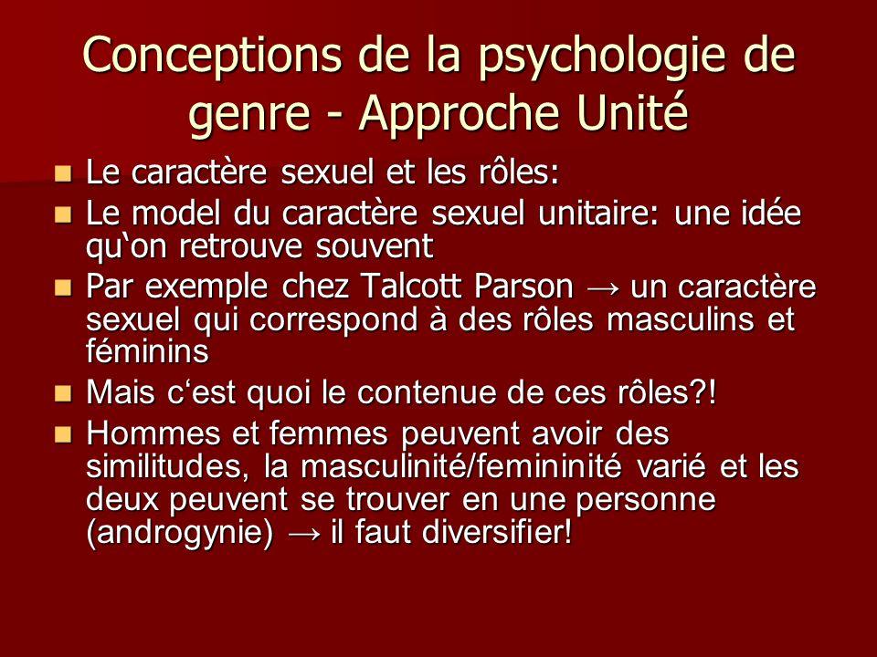 Conceptions de la psychologie de genre - Approche Unité