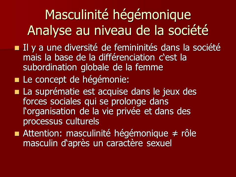 Masculinité hégémonique Analyse au niveau de la société