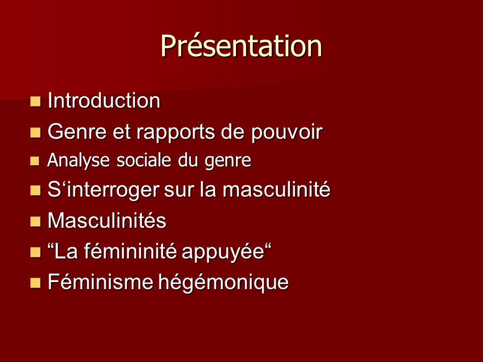 Présentation Introduction Genre et rapports de pouvoir
