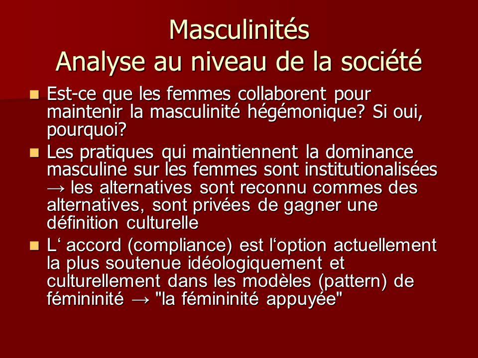 Masculinités Analyse au niveau de la société