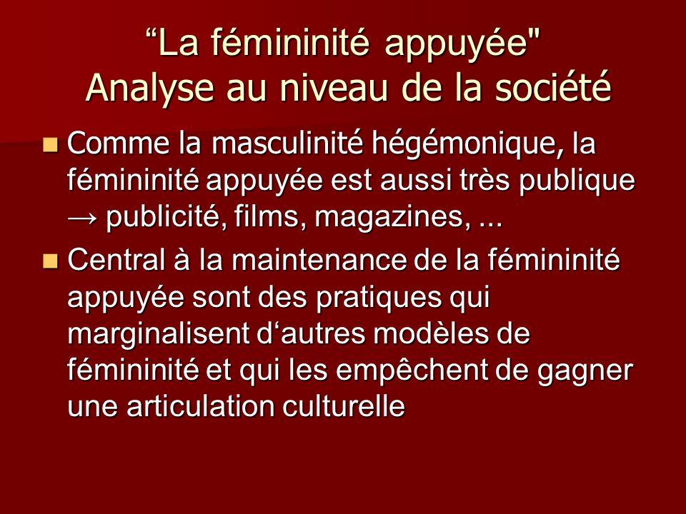 La fémininité appuyée Analyse au niveau de la société