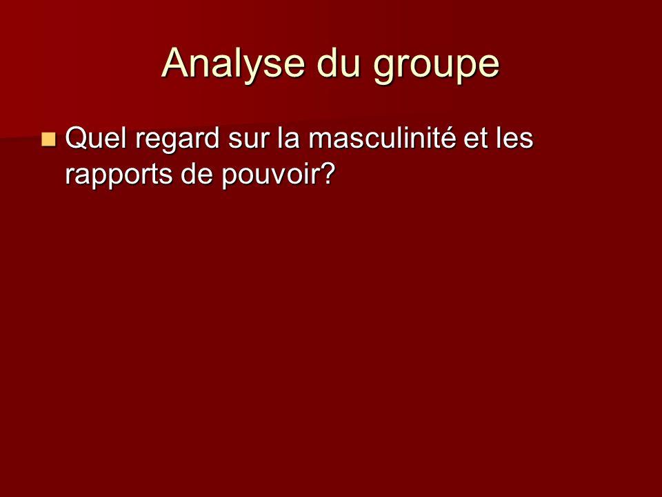Analyse du groupe Quel regard sur la masculinité et les rapports de pouvoir