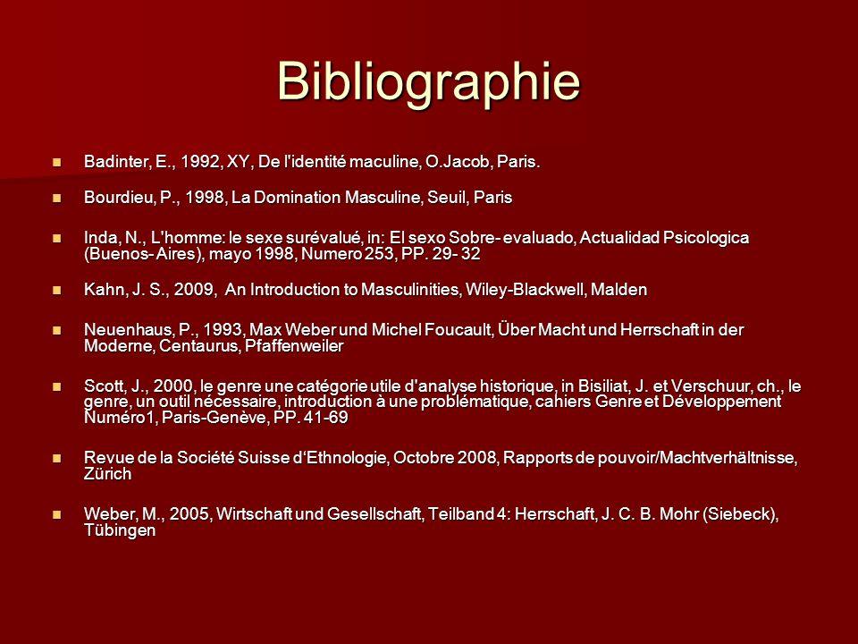 Bibliographie Badinter, E., 1992, XY, De l identité maculine, O.Jacob, Paris. Bourdieu, P., 1998, La Domination Masculine, Seuil, Paris.