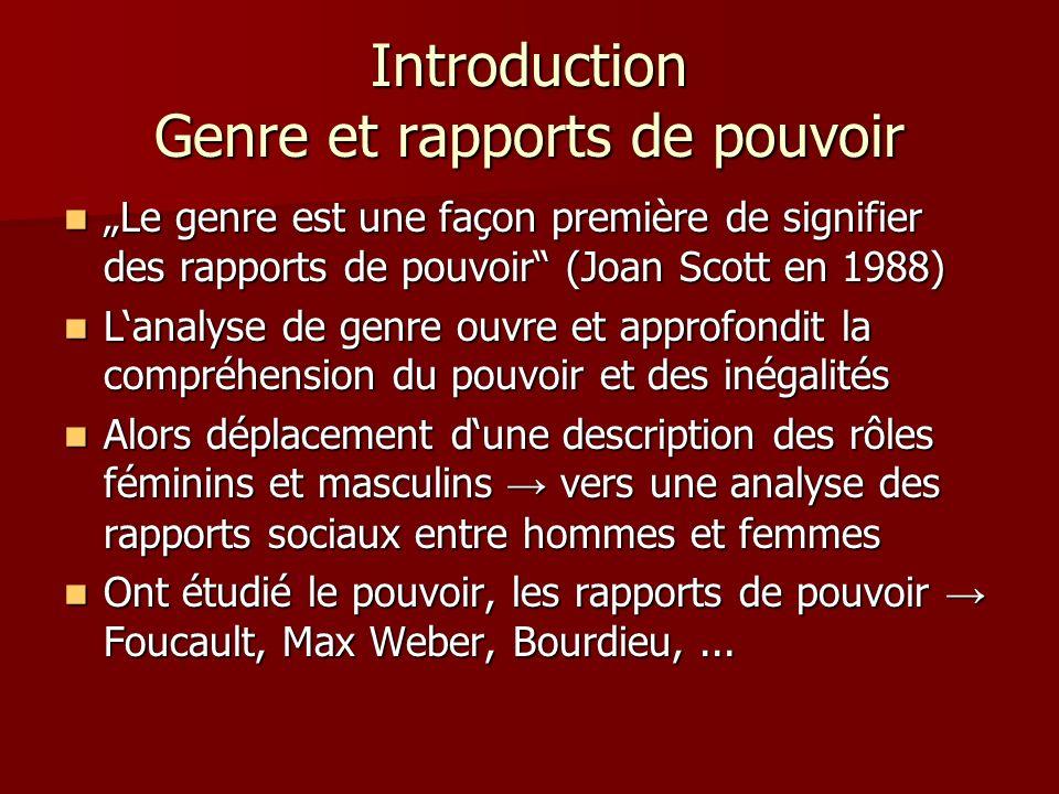 Introduction Genre et rapports de pouvoir