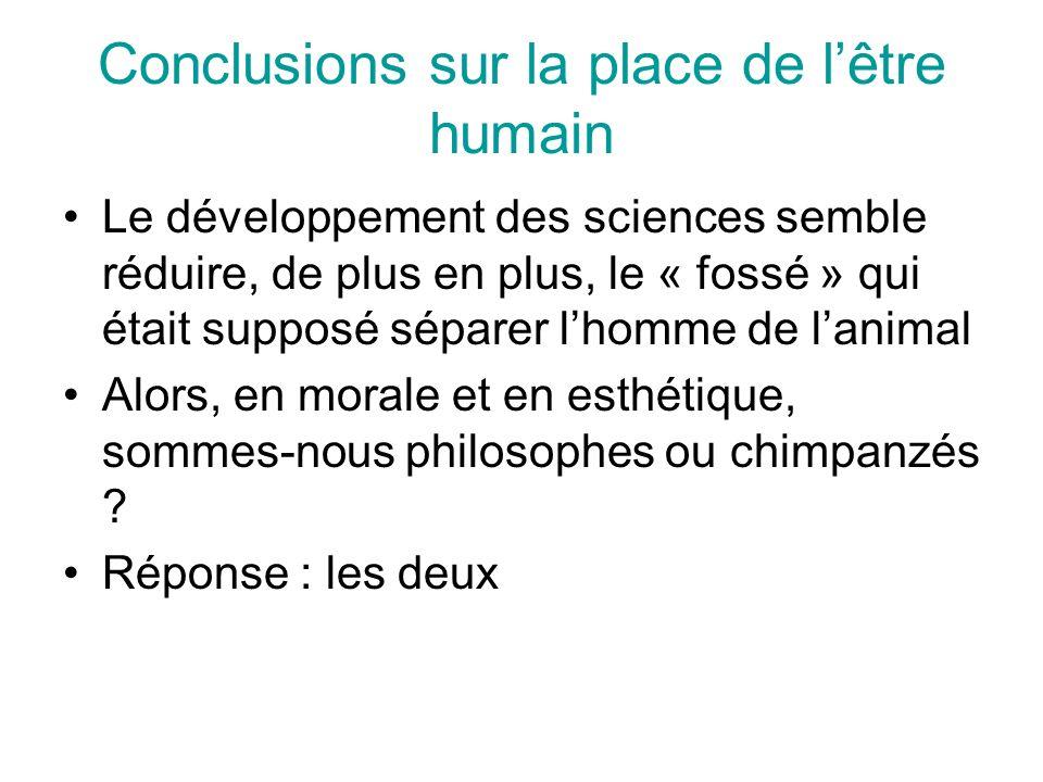 Conclusions sur la place de l'être humain