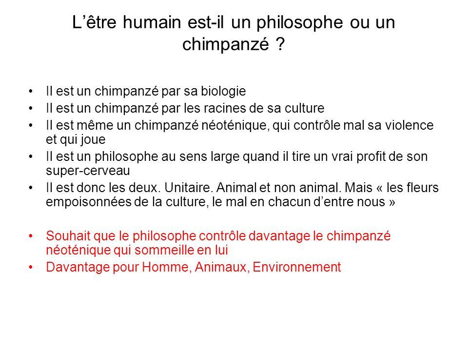 L'être humain est-il un philosophe ou un chimpanzé