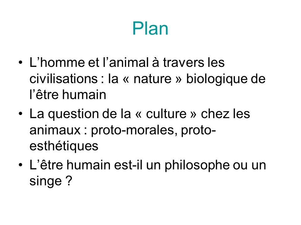 Plan L'homme et l'animal à travers les civilisations : la « nature » biologique de l'être humain.