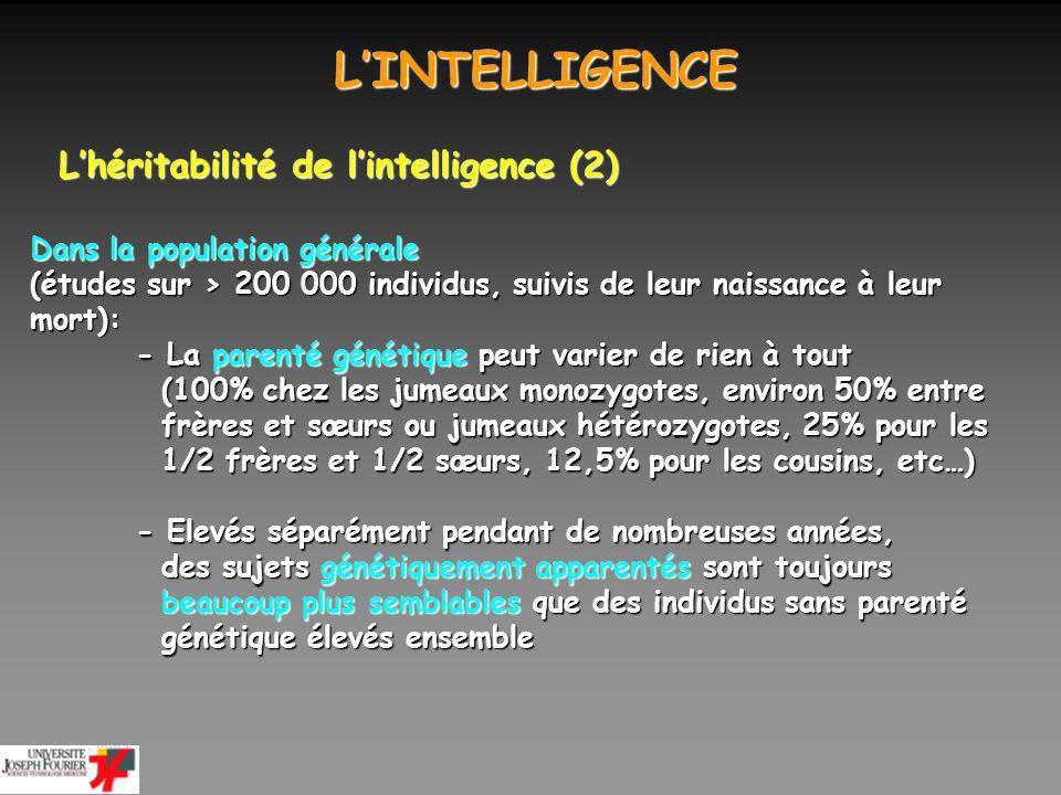 L'INTELLIGENCE L'héritabilité de l'intelligence (2)