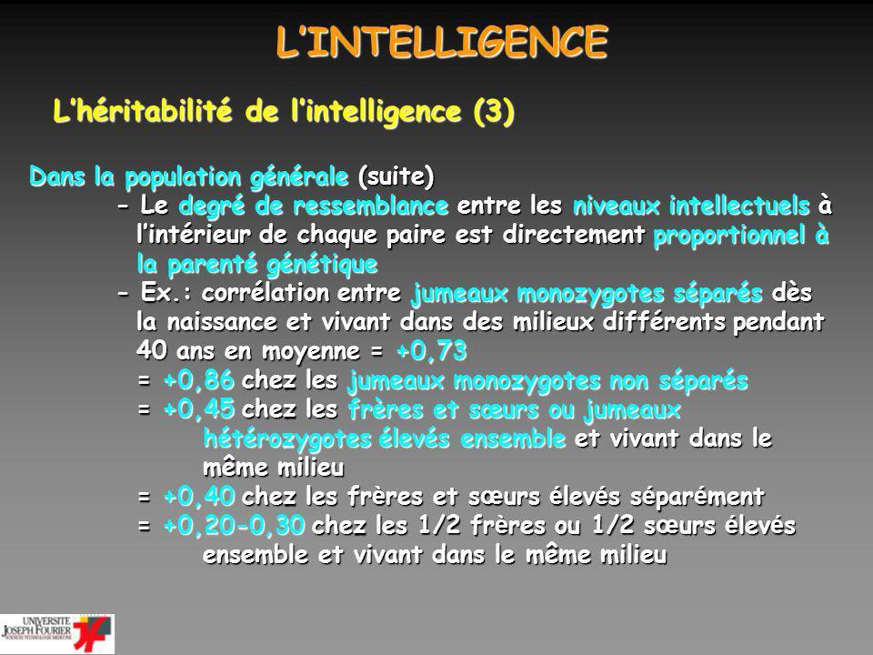 L'INTELLIGENCE L'héritabilité de l'intelligence (3)