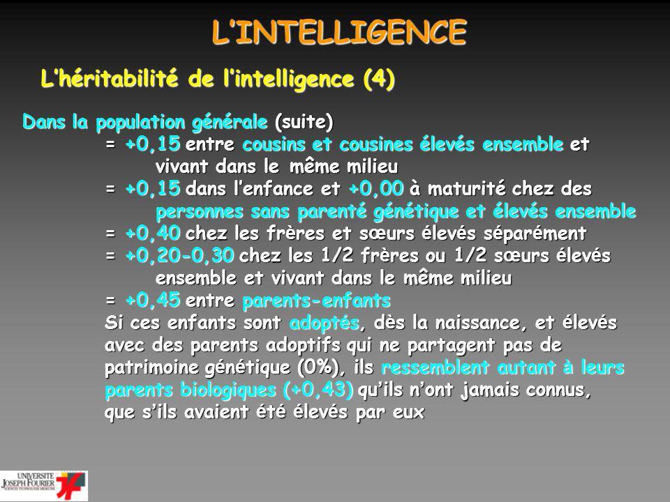 L'INTELLIGENCE L'héritabilité de l'intelligence (4)
