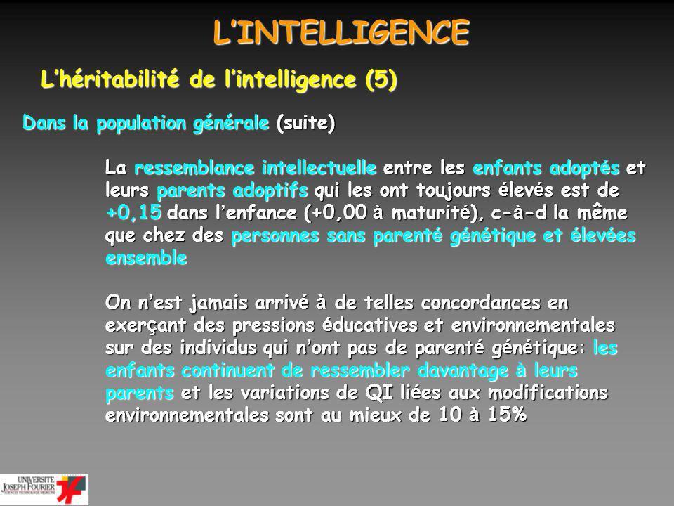 L'INTELLIGENCE L'héritabilité de l'intelligence (5)