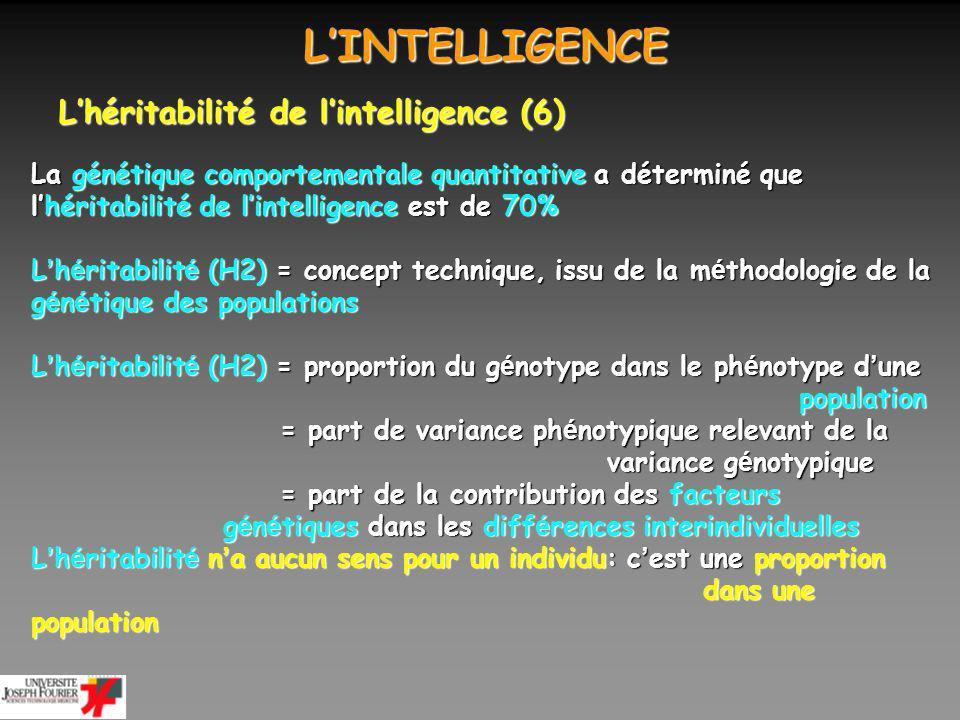 L'INTELLIGENCE L'héritabilité de l'intelligence (6)