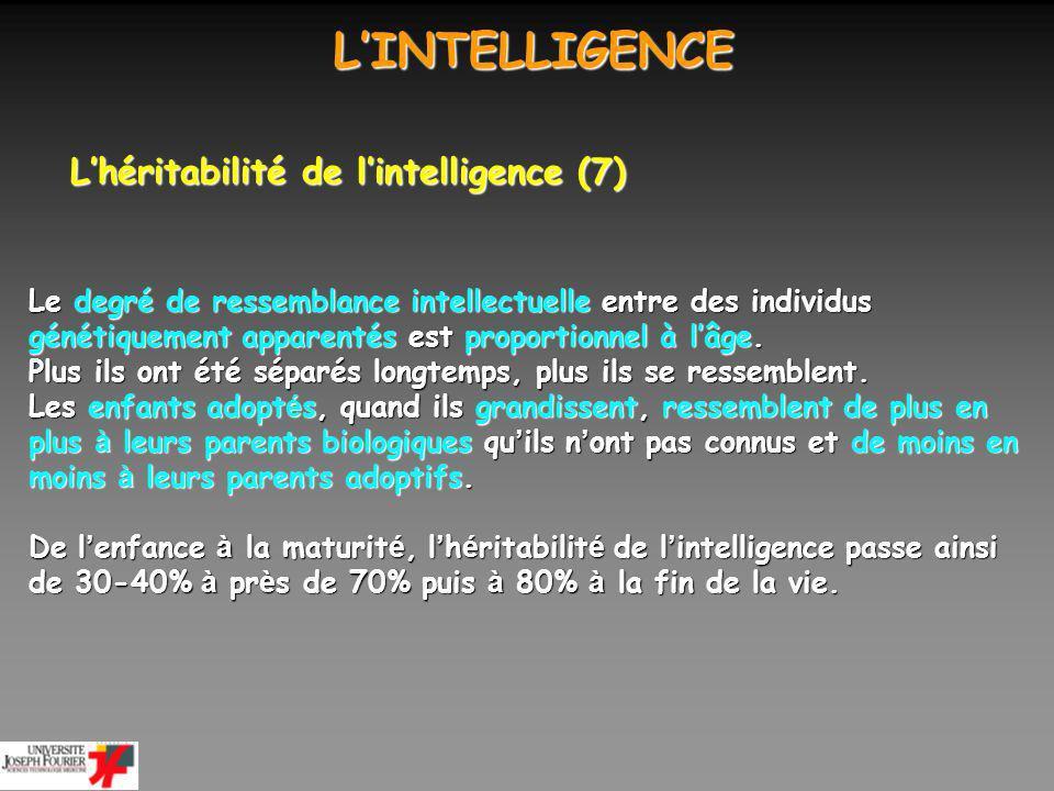 L'INTELLIGENCE L'héritabilité de l'intelligence (7)