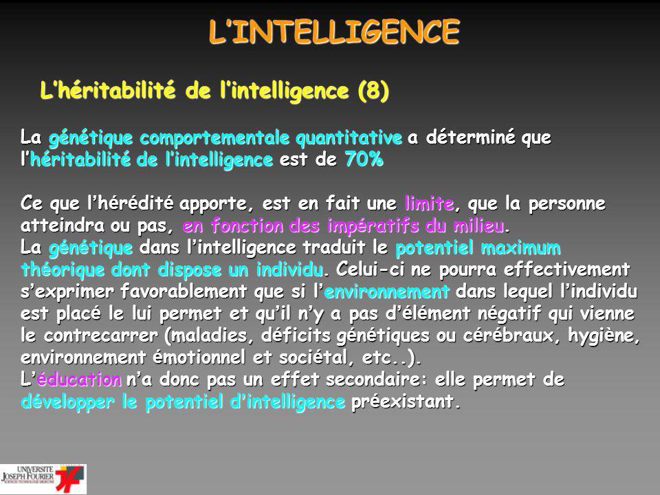 L'INTELLIGENCE L'héritabilité de l'intelligence (8)