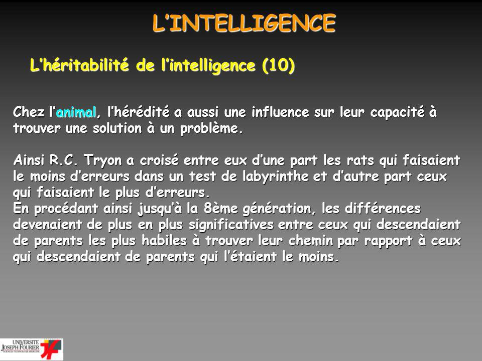 L'INTELLIGENCE L'héritabilité de l'intelligence (10)