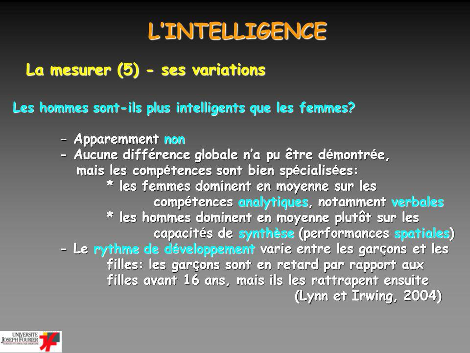 L'INTELLIGENCE La mesurer (5) - ses variations