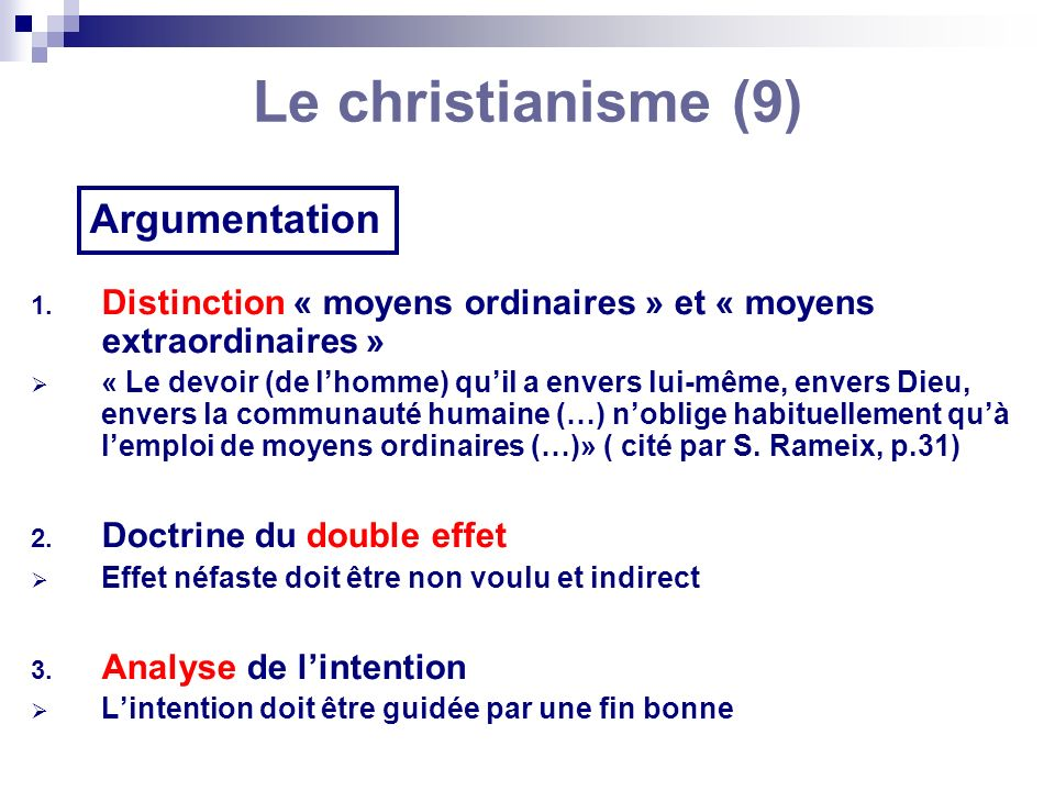Le christianisme (9) Argumentation