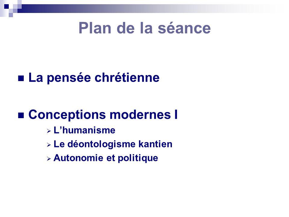 Plan de la séance La pensée chrétienne Conceptions modernes I