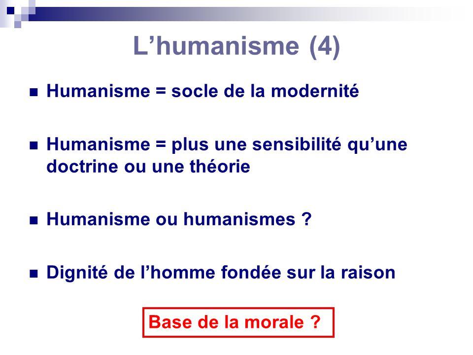 L'humanisme (4) Humanisme = socle de la modernité