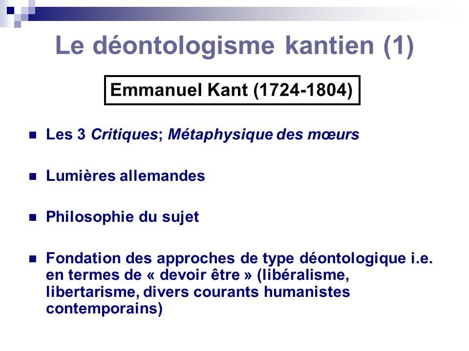 Le déontologisme kantien (1)