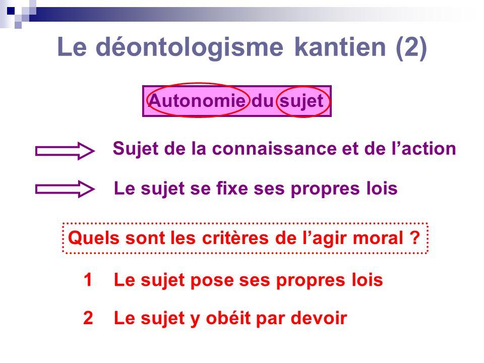 Le déontologisme kantien (2)