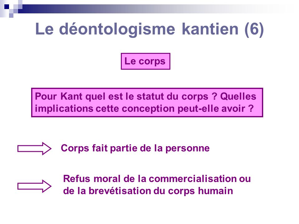 Le déontologisme kantien (6)