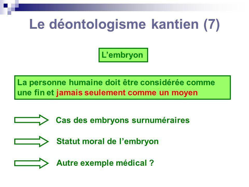 Le déontologisme kantien (7)