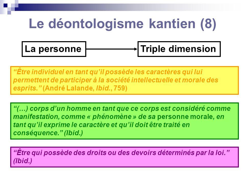 Le déontologisme kantien (8)