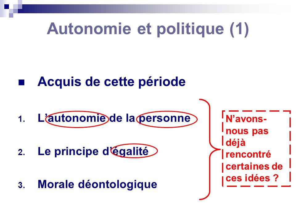 Autonomie et politique (1)