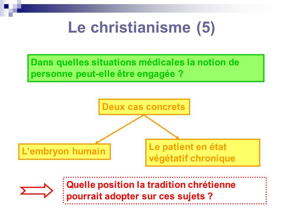 Le christianisme (5) Dans quelles situations médicales la notion de personne peut-elle être engagée