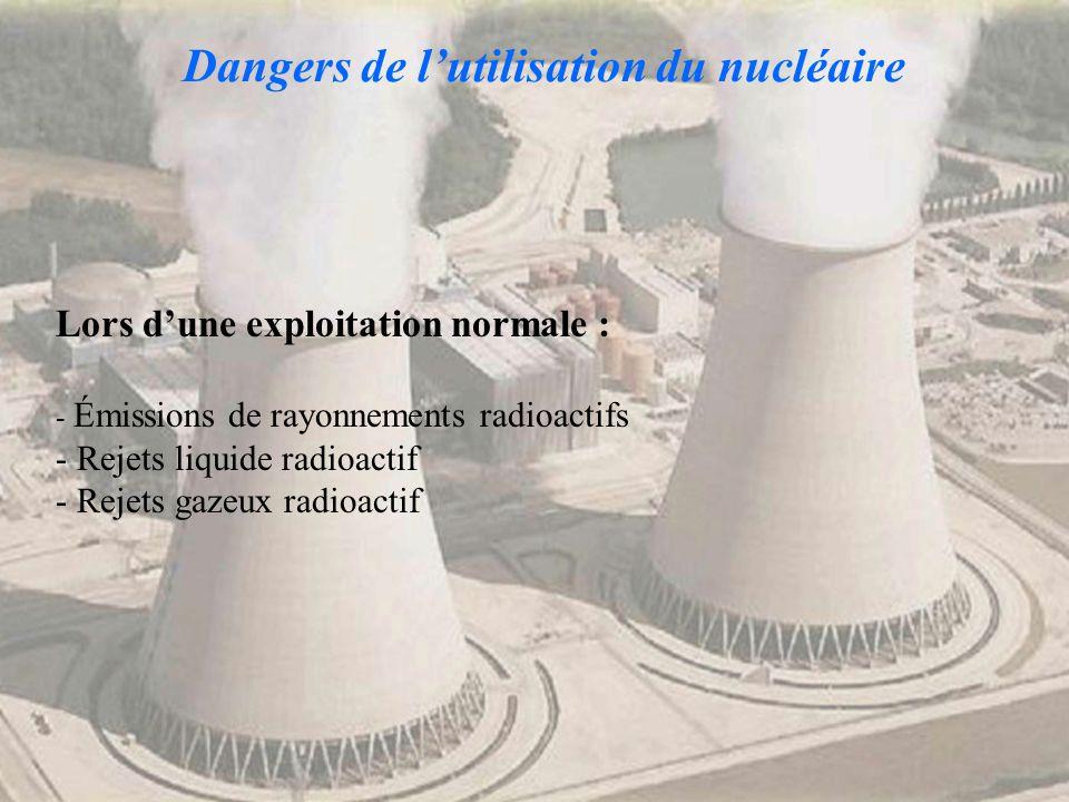 Dangers de l'utilisation du nucléaire