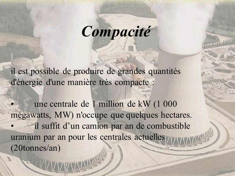 Compacité il est possible de produire de grandes quantités d énergie d une manière très compacte :