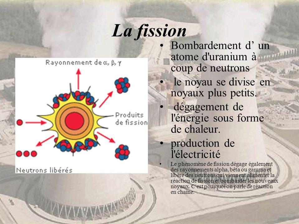 La fission Bombardement d' un atome d uranium à coup de neutrons