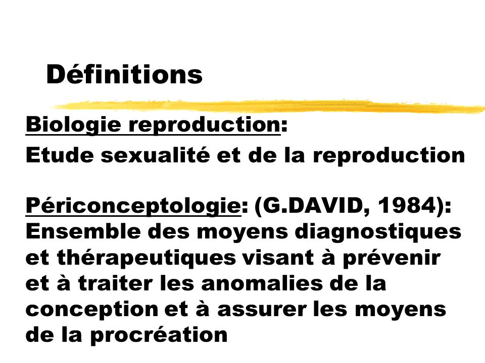 Définitions Biologie reproduction: