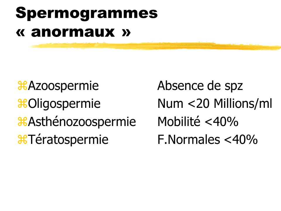 Spermogrammes « anormaux »