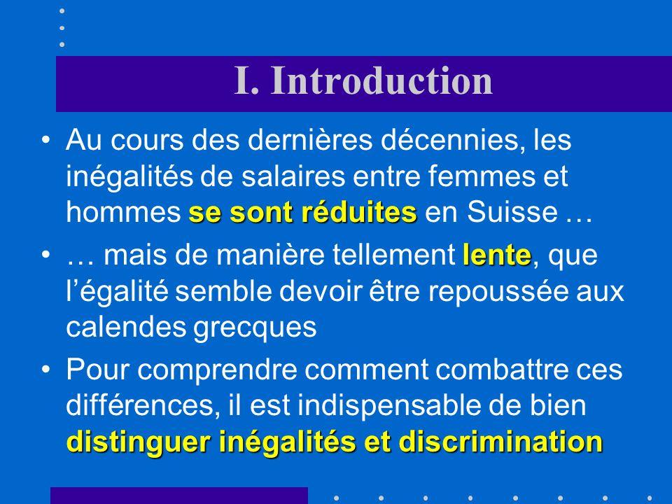 I. Introduction Au cours des dernières décennies, les inégalités de salaires entre femmes et hommes se sont réduites en Suisse …