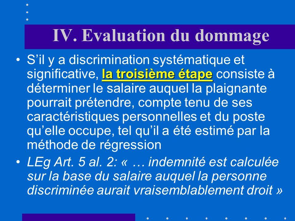 IV. Evaluation du dommage
