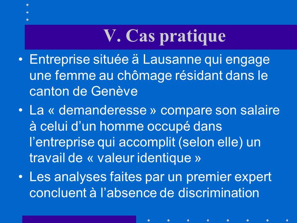 V. Cas pratique Entreprise située ä Lausanne qui engage une femme au chômage résidant dans le canton de Genève.